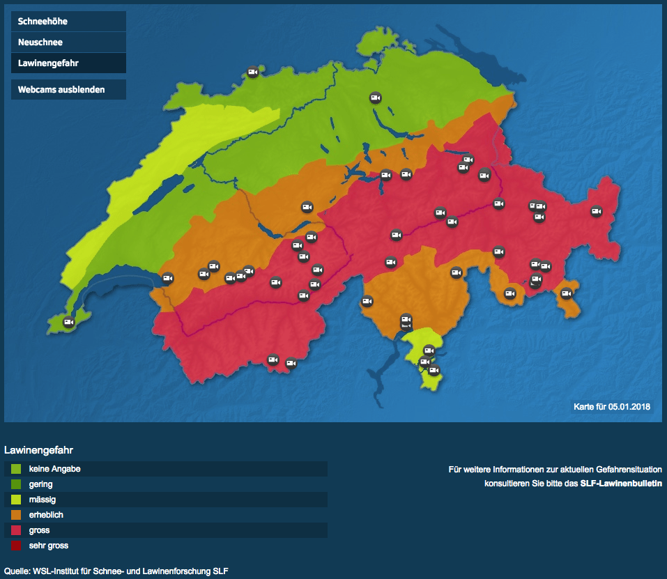 Lawinegevaar Zwitserland